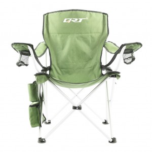 QRT Executive Folding Camping Picnic Arm Chair - Aluminum frame - Green