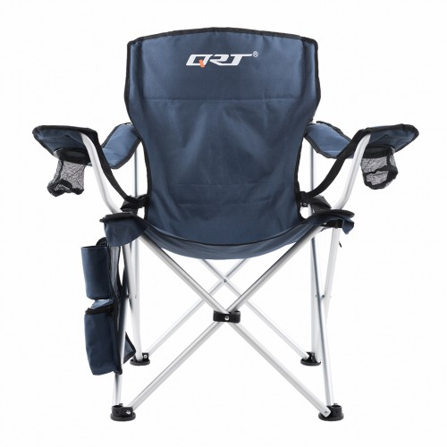 QRT Executive Folding Camping Picnic Arm Chair - Aluminum frame - Navy