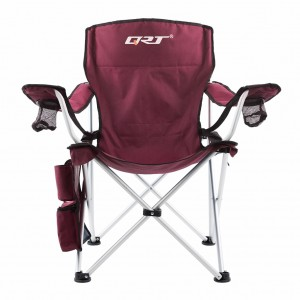 QRT Deluxe Executive Folding Camping Picnic Arm Chair - Strong Aluminum frame - Burgundy