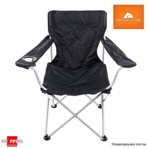 Portable Folding Arm Chair Steel Frame For Camping Travel Black