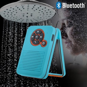 Waterproof Bluetooth Shower Speaker for iPhone Android - Blue