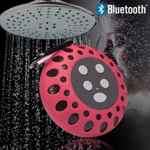 Waterproof Bluetooth Shower Speaker with NFC Tech Stereo Sound - Red