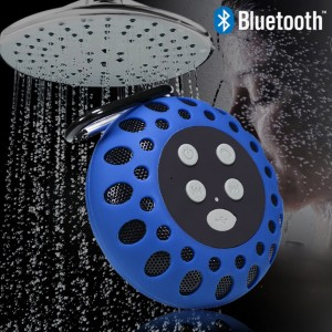 Waterproof Bluetooth Shower Speaker with NFC Tech Stereo Sound - Blue