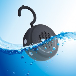 Waterproof Wireless Bluetooth Shower Speaker with Mic Hook Supported iPhone Android - Black