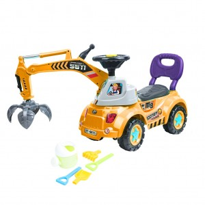Kids Ride-on Construction/Grab Crane Car Toy -Yellow