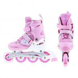 Adjustable Kids Inline Skates Flashing Wheels M Size - baby Pink for Kids Girls