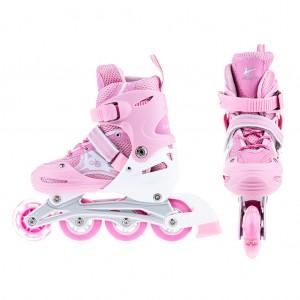 Adjustable Kids Inline Skates Flashing Wheels L Size - Pink