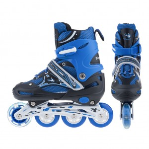 Adjustable Kids Inline Skates Flashing Wheels L Size - Blue
