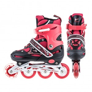 Adjustable Kids Inline Skates Flashing Wheels L Size - Red