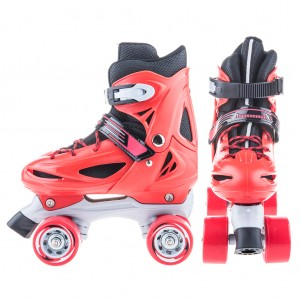 Adjustable Kids Roller Skates Quad Skates M Size - Red