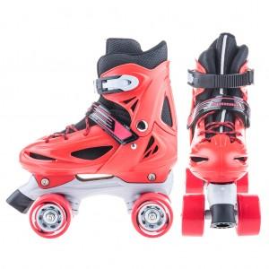 Adjustable Kids Roller Skates Quad Skates M Size - Red