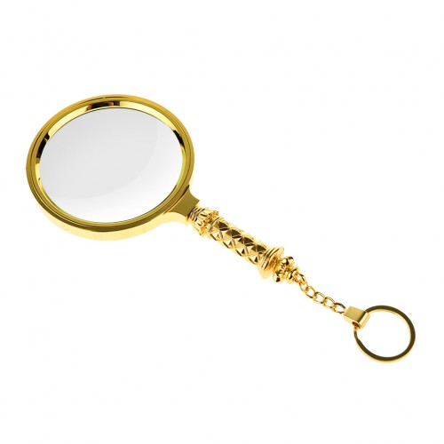 90mm 5X Classic Magnifier Brass Magnifying Glass Lens Tool with Keychain