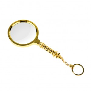 80mm 5X Classic Magnifier Brass Magnifying Glass Lens with Keychain