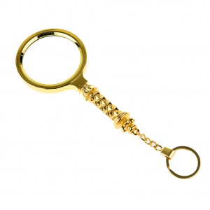 70mm 5X Classic Magnifier Brass Magnifying Glass Tool Lens with Keychain