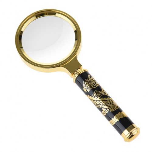 Chinese Dragon Tattoos Style 60mm 5X Classic Magnifier Brass Magnifying Glass Lens Tool