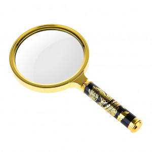 Chinese Dragon Tattoos - 90mm 5X Classic Magnifier Brass Magnifying Glass Lens Tool
