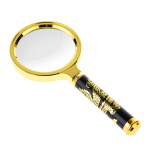 Chinese Dragon Tattoos - 70mm 5X Classic Magnifier Brass Magnifying Glass Lens Tool