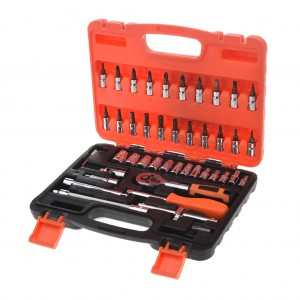 46 Piece Ratchet Screwdriver Bit And Socket Set With Case
