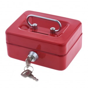 125 x 95 x 60 mm Portable Home Cash Box With Lock Red