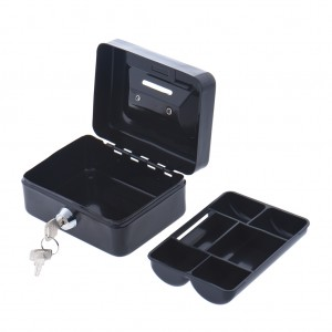 Portable Home Cash Box With Lock 125 x 95 x 60 mm Black