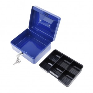 150 x 120 x 80 mm Portable Home Cash Box With Lock Blue