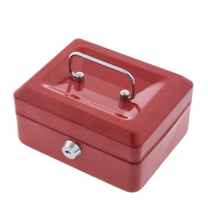 150 x 120 x 80 mm Portable Home Cash Box With Lock Red