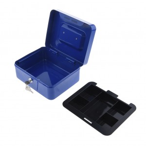 200 x 160 x 90 mm Portable Home Cash Box With Lock Blue