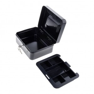 200 x 160 x 90 mm Portable Home Cash Box With Lock Black