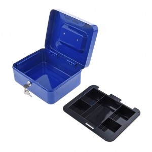 250 x 200 x 90 mm Portable Home Cash Box With Lock Blue