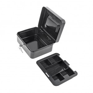 Portable Home Cash Box With Lock 250 x 200 x 90 mm Black