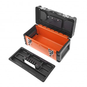 14 Inch Metal Latch Tool Box Storage With Removable Tool Tray Orange