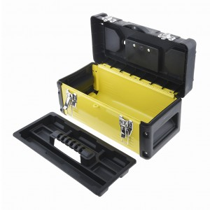 14 Inch Metal Latch Tool Box Storage With Removable Tool Tray Yellow