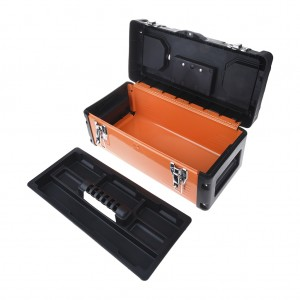 17 Inch Metal Latch Tool Box Storage With Removable Tool Tray Orange