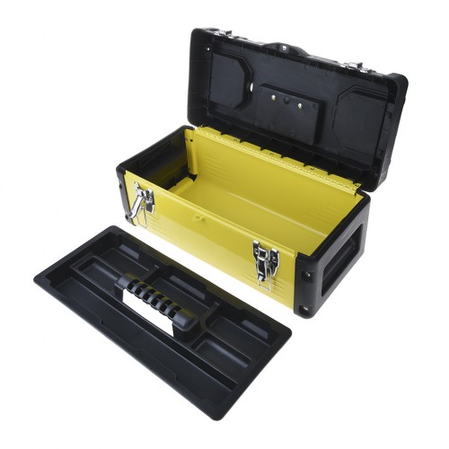 17 Inch Metal Latch Tool Box Storage With Removable Tool Tray Yellow
