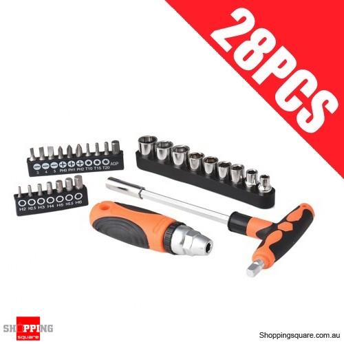 28 Piece Ratchet Screwdriver Bit And Socket Set Tool Orange Colour