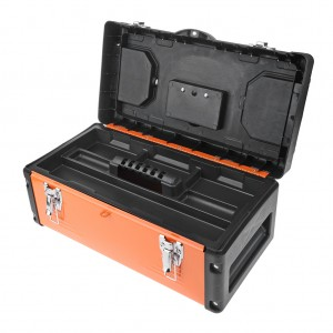 19 Inch Metal Latch Tool Box With Removable Tool Tray Orange