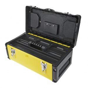 19 Inch Metal Latch Tool Box With Removable Tool Tray Yellow