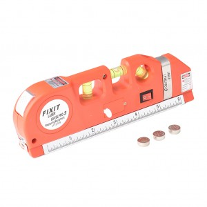Orange Multipurpose Laser Level Horizontal Vertical Aligner Measuring Tape Ruler Tool