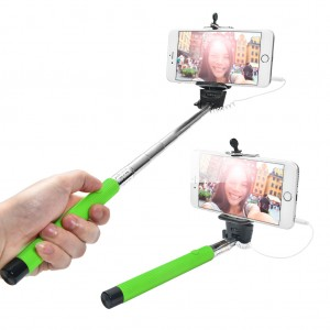 Extendable Wired Selfie Stick for iPhone Android Windows Phone - Apple Green