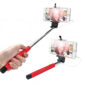 Extendable Wired Selfie Stick for iPhone Android Windows Phone - Red