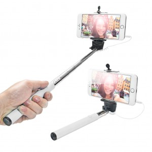 Extendable Wired Selfie Stick for iPhone Android Windows Phone - White