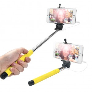 Extendable Wired Selfie Stick for iPhone Android Windows Phone - Yellow