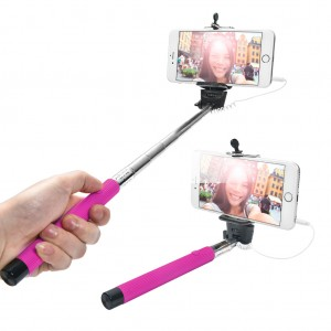 Extendable Wired Selfie Stick for iPhone Android Smarthone - Deep Pink