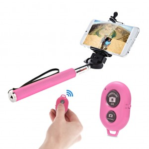 Extendable Selfie Stick with Bluetooth Remote Shutter Android iOS - Pink