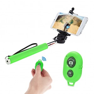 Extendable Selfie Stick with Bluetooth Remote Shutter Android iOS -  Green