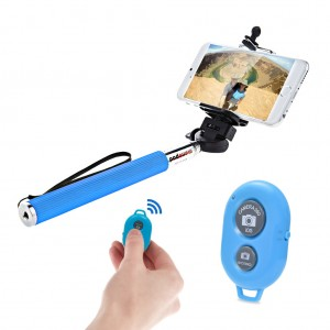 Extendable Selfie Stick with Bluetooth Remote Shutter Android iOS - Blue
