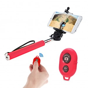 Extendable Selfie Stick with Bluetooth Remote Shutter Android iOS - Red