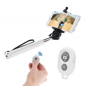Extendable Selfie Stick with Bluetooth Remote Shutter Android iOS - White
