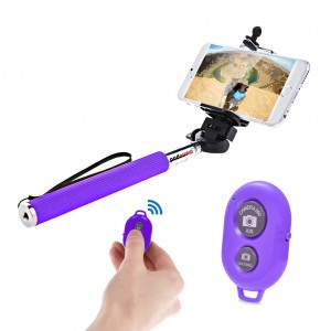 Extendable Selfie Stick with Bluetooth Remote Shutter Android iOS - Purple