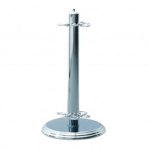 6 Pool Cues Rack Metal Billiards Floor Stand - Silver